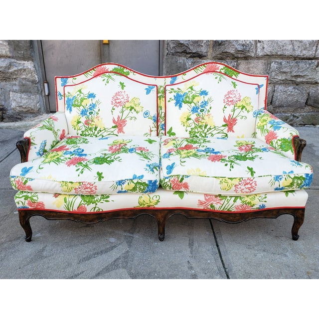 Vintage Louis XV Style Floral Upholstery Settee For Sale - Image 13 of 13