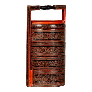 Burmese Pagan Dynasty Style Stacking Picnic Basket with Underglaze Decor For Sale