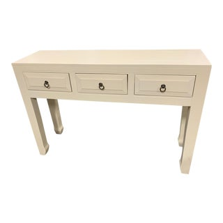 Parchment White 3 Drawer Console For Sale