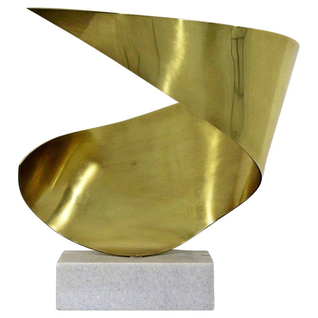 Mid-Century Modern Bronze Ribbon Marble Table Sculpture Signed James Nani 1978 For Sale