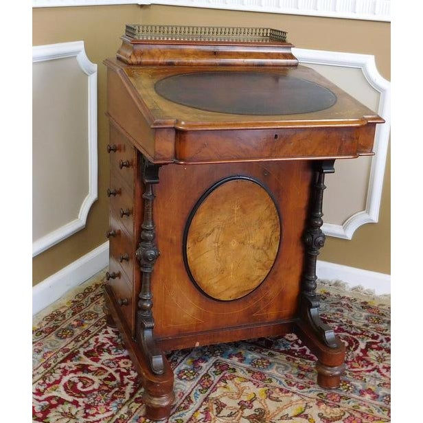 Victorian English Burl Walnut Davenport Desk - Image 2 of 9