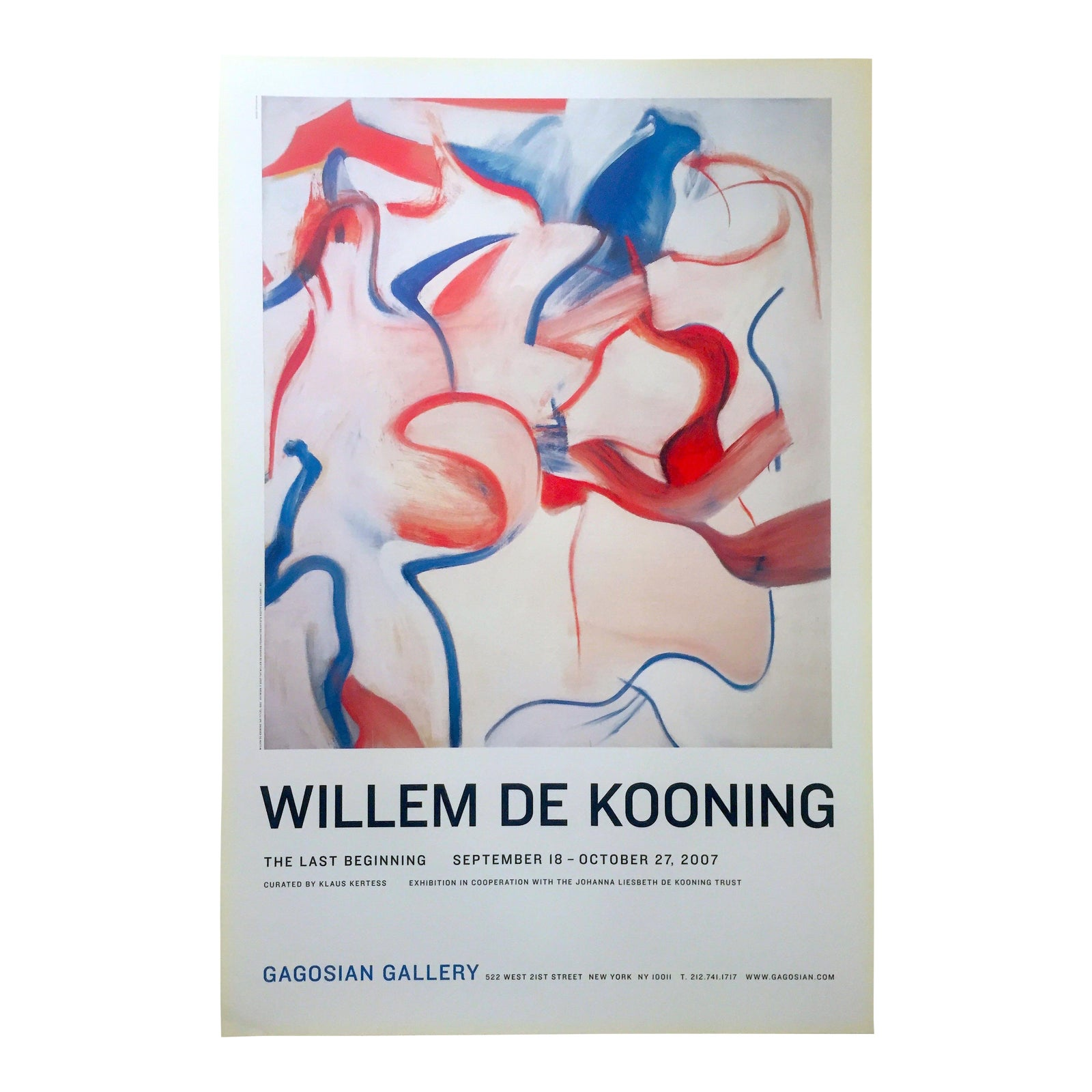 "Willem De Kooning Rare Abstract Expressionist Lithograph Print "" the Last  Beginning "" Exhibition Poster 