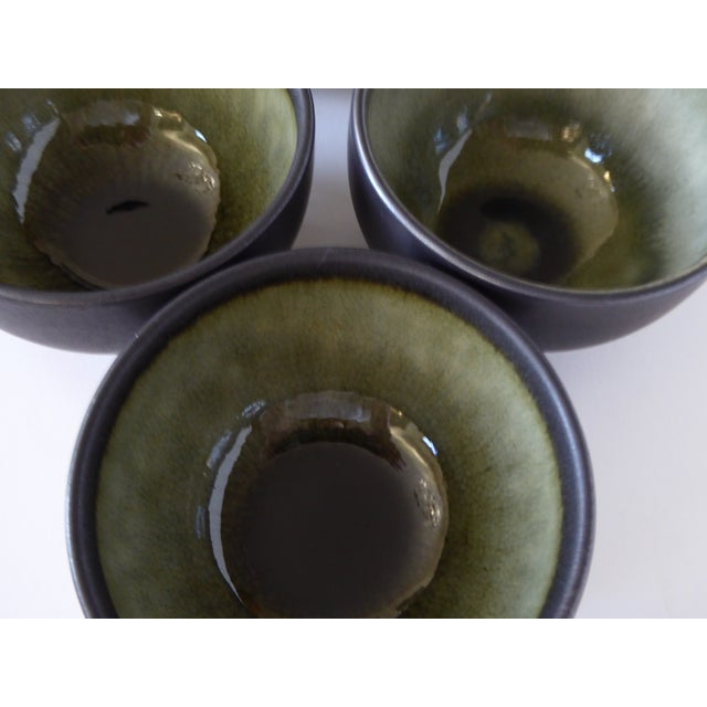 French Hand Made Mocha & Green Ceramic Cups - Set of 5 For Sale - Image 4 of 8