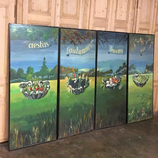 Beautifully and colorfully representing the Four Seasons, this Set of Four Grand Scale Panel Paintings can transform a...