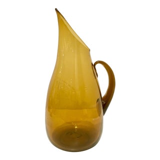 Vintage Blenko Glass Amber Handled Pitcher