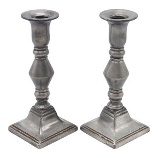 Traditional Pewter Candlesticks - a Pair For Sale