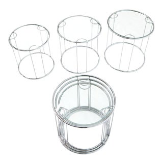 Pair of Round Chrome and Glass Nesting Side End Table 6 Pieces Set For Sale