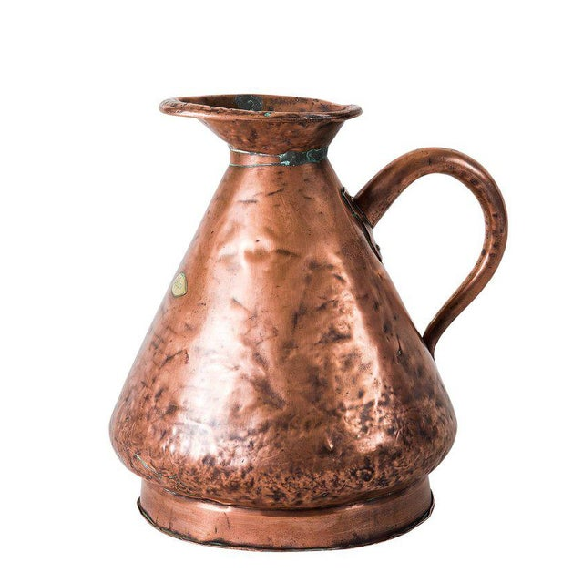 Late 19th Century Large Four Gallon Victorian English Copper Ale-Beer Measuring Jug For Sale - Image 5 of 11
