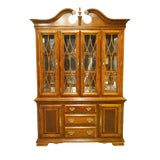 Image of 1990s Chippendale Universal Furniture Illuminated Display China Cabinet For Sale