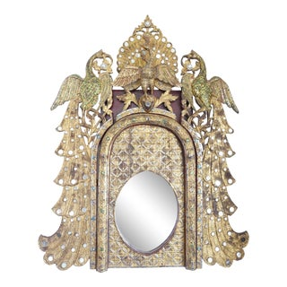 Gilt Peacock Mirror With Mirrored Embellishments For Sale
