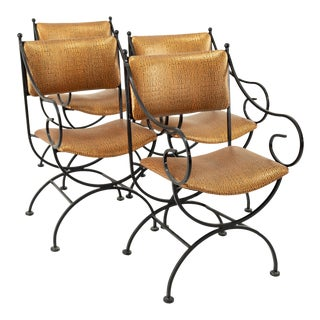 1960s Arthur Umanoff for Shaver Howard Mid Century Alligator Upholstery Iron Dining Chairs - Set of 4 For Sale