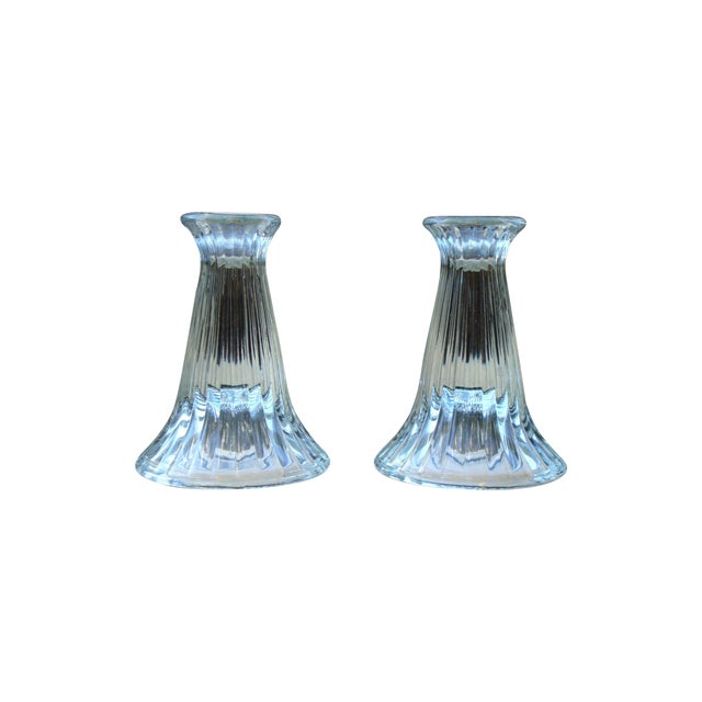 Modern Crystal Ribbed Candle Holders - Pair - Image 1 of 8