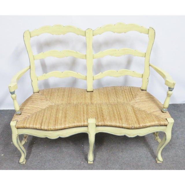 Late 20th Century Country French Yellow Painted Rush Seat Settee For Sale - Image 5 of 7