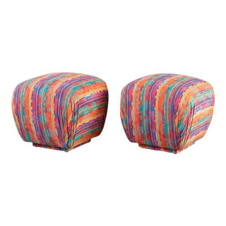 Multicolor Upholstered Soufle Pouf Ottomans For Sale