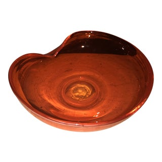 Vintage Italian Murano Glass Art Burnt Orange Ashtray Decor For Sale