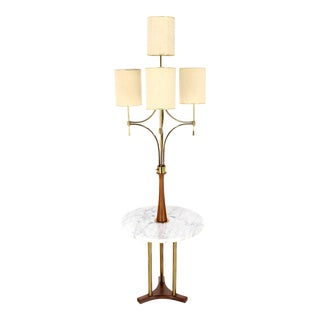 Mid-Century Modern Walnut, Brass, and Marble Floor Lamp with Marble Side Table For Sale