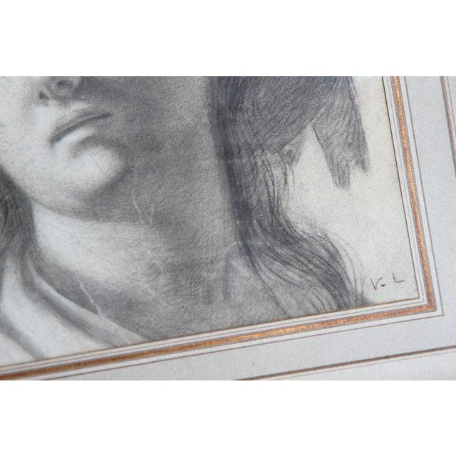 18th Century Charcoal Drawing of a Young Lady Wearing a Hat For Sale In Dallas - Image 6 of 13