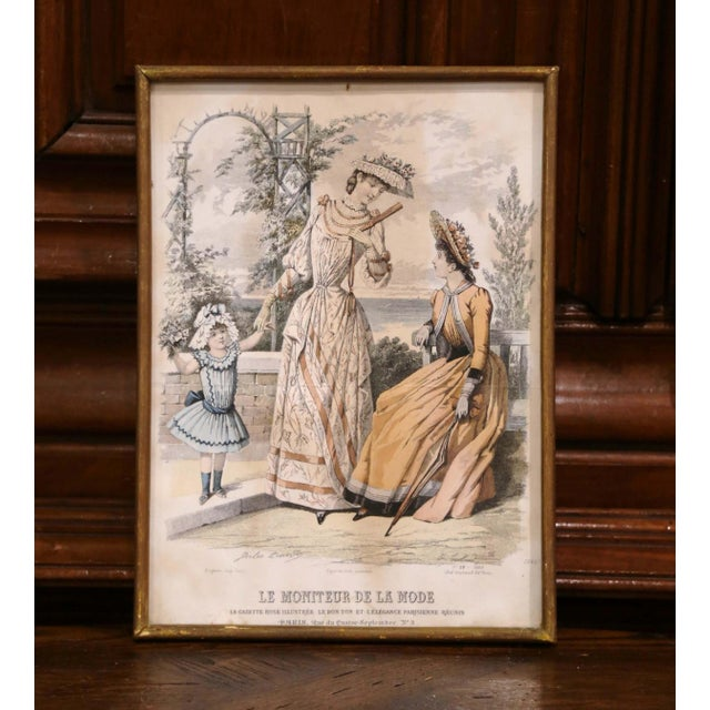 """19th Century French Color Women Fashion Prints Framed Dated 1890 """"Set of Five"""" For Sale - Image 11 of 13"""