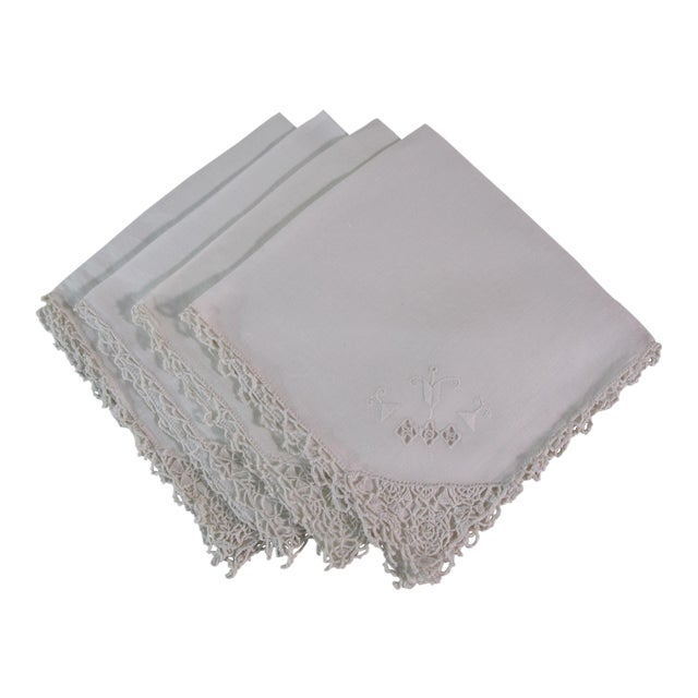 Arts and Crafts Embroidered Linen Napkins - Set of 4 For Sale