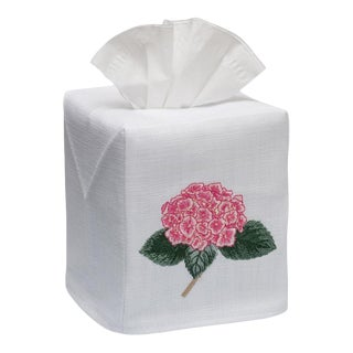 Pink Hydrangea Too Tissue Box Cover in White Linen & Cotton, Embroidered For Sale