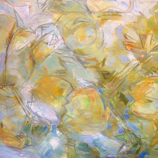 """Large Abstract Oil Painting by Trixie Pitts """"Golden Pond"""" For Sale"""
