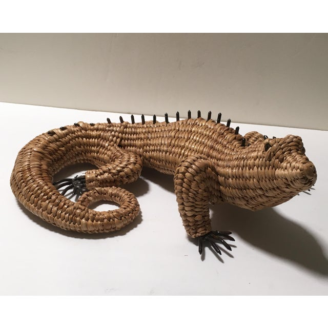 Mexican Vintage Mario Lopez Torres Woven Iguana Figurine For Sale - Image 3 of 10