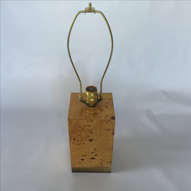 Burl & Brass Lamp in the Style of Milo Baughman - Image 3 of 6