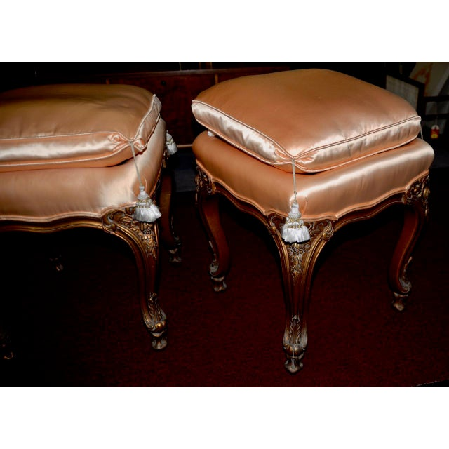 Pair of Italian Hand Carved and Silk Upholstered Benches c.1950s Finely carved and upholstered benches. Each bench is...
