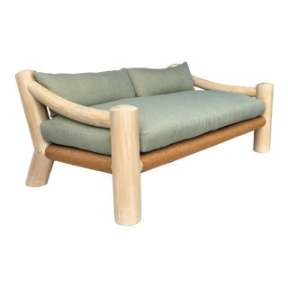 Late 20th Century Daring Exposed Wood Frame Sofa With Rush Seat For Sale
