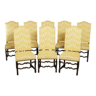 French Louis XIII Style Custom Set 8 OS De Mouton Dining Chairs For Sale