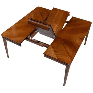 Large Extendable Rectangle to Square Cherry Wood Butterfly Leaf Dining Table For Sale