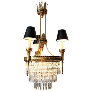 Six-Light Louis XVI Style Chandelier with Shades, circa 1910 For Sale