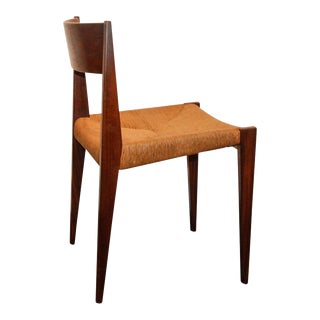 Poul Volther Style Teak & Raffia Side Chair For Sale