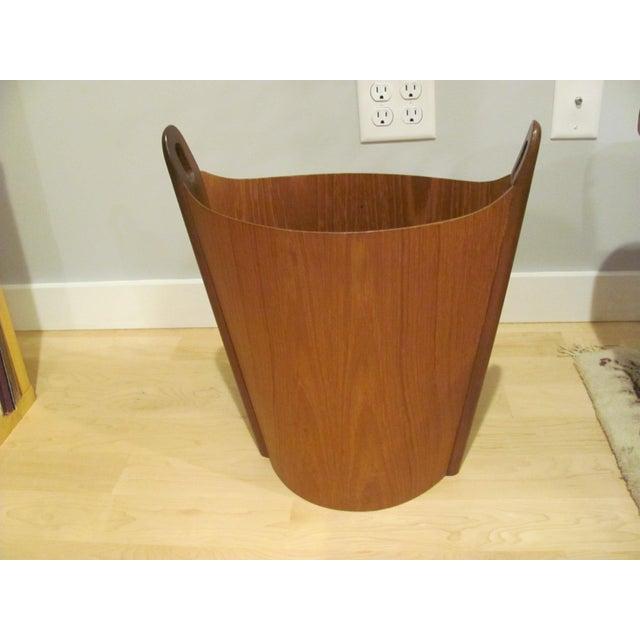 Mid-Century Modern Vintage P. S. Heggen Teak Waste Basket Designed by Einer Barnes For Sale - Image 3 of 9