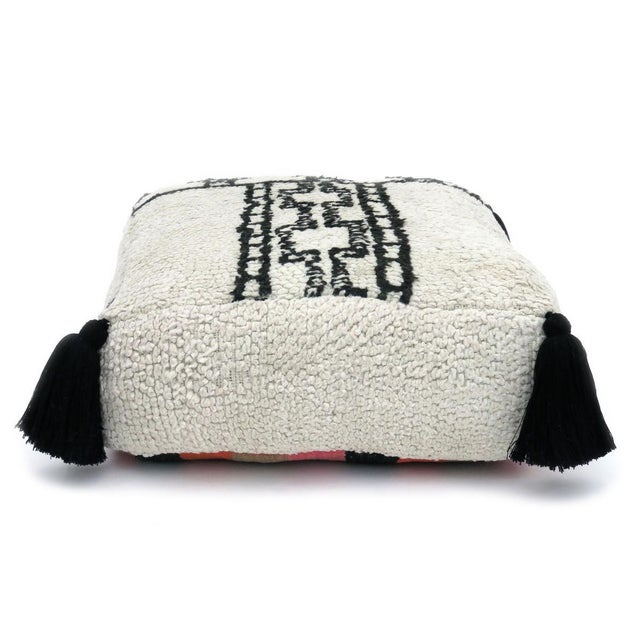 1970s Vintage Grey & Black Beni Ourain Pouf For Sale - Image 4 of 8
