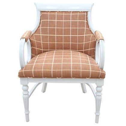 Plaid & Leather Empire Chair - Image 1 of 7