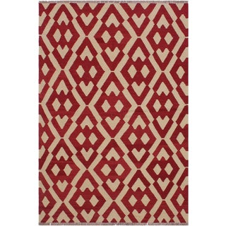Contemporary Kilim Angla Red/Ivory Hand-Woven Wool Rug - 4'3 X 5'8 For Sale