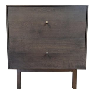 "Room & Board ""Hudson"" Shell/Gray Wood & Stainless Steel 2-Drawer Nightstand"