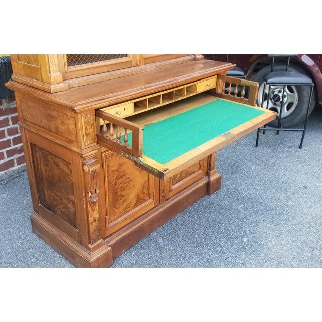 Wood Antique 19th Century Palatial Size Burl Walnut Eastlake Victorian Butler's Secretary Desk C1860 For Sale - Image 7 of 13
