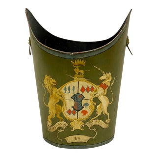 Italian Handpainted Armorial Tole Trashcan For Sale