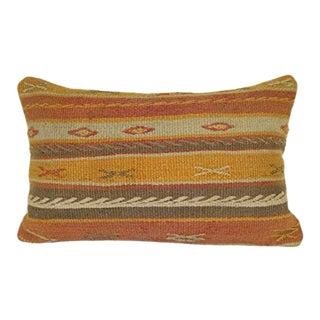 Handmade Pillows, Tribal Modern Organic Wool Throw Pillow, Oriental Chair Decor, Vintage Natural Wool Kilim Lumbar Pillow 16'' X 24'' (40 X 60 Cm) For Sale