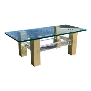 Mid Century Modern Lucite Coffee Table For Sale