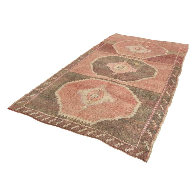 Mid-Century Modern Vintage Brown and Pink Large Turkish Kars Wool Rug For Sale - Image 3 of 7