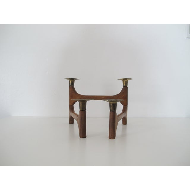 Mid-Century Wood and Brass Candelabra - Image 7 of 8