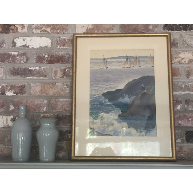 Fabulous and richly colored early 20th century watercolor seascape by American artist, David L. Swasey (1909-1977)....