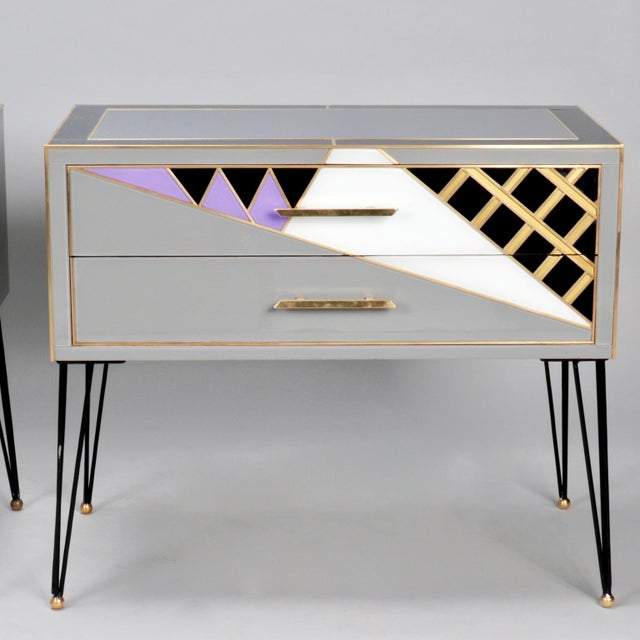 Italian Two-Drawer Cabinets with Murano Glass and Brass Inlays - A Pair - Image 2 of 11