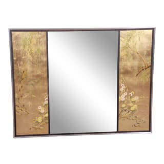 LaBarge Hollywood Regency Chinoiserie Églomisé Reverse Painted Wall Mirror For Sale