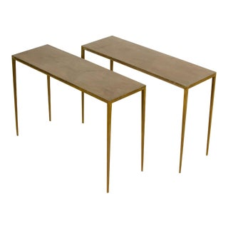 Wrought Iron Console Tables With Bronze Wash in the Manner of Jean-Michel Frank - a Pair- For Sale