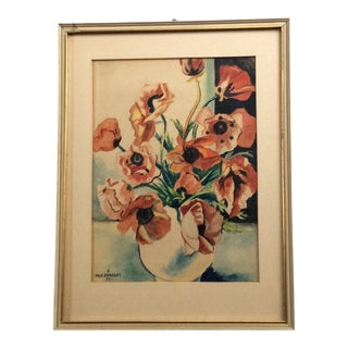 1930's French Framed Signed Still Life Watercolor For Sale