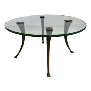 1940's Vintage Bronze & Glass Circular Cocktail Coffee Table For Sale